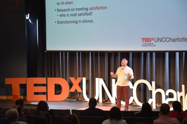 Dr. Rogelberg at the TEDx UNC Charlotte event
